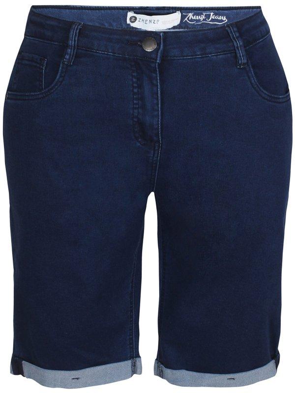 Mørkeblå denim shorts med stretch  fra Zhenzi
