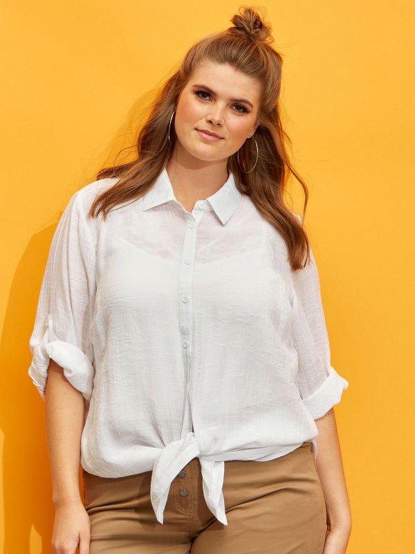 Hvid skjorte i let kvalitet  fra Zhenzi