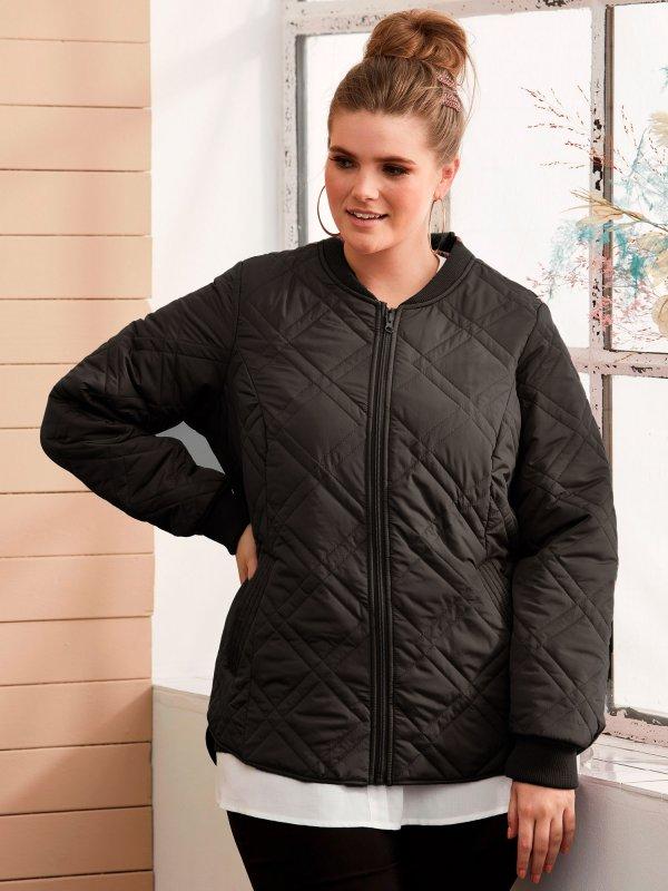 sort jakke med flot quiltet mønster fra Zhenzi