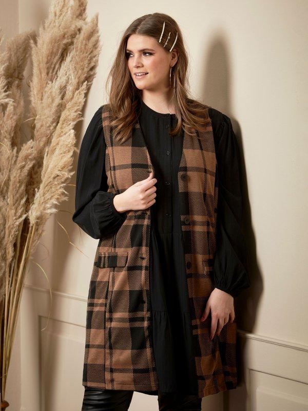 Skøn jersey vest med flotte sort - brune tern fra Zhenzi