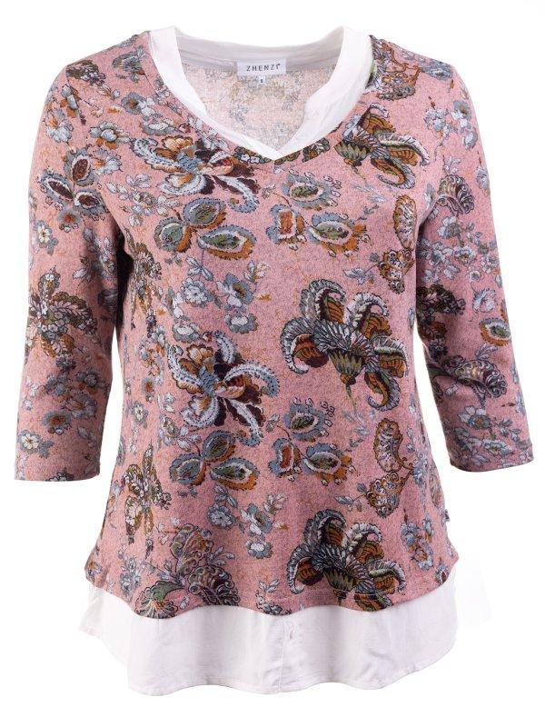 Lyserød bluse med blomsterprint og skjortedetaljer fra Zhenzi