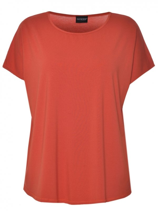 Orange basis t-shirt i viskosejersey fra Gozzip
