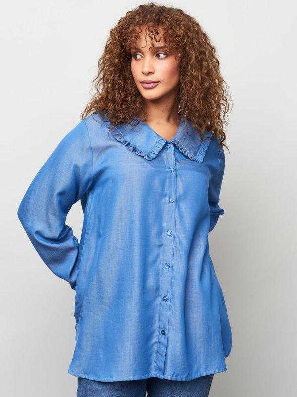Smuk blå skjorte bluse i eksklusiv bæredygtig tencel fra Aprico