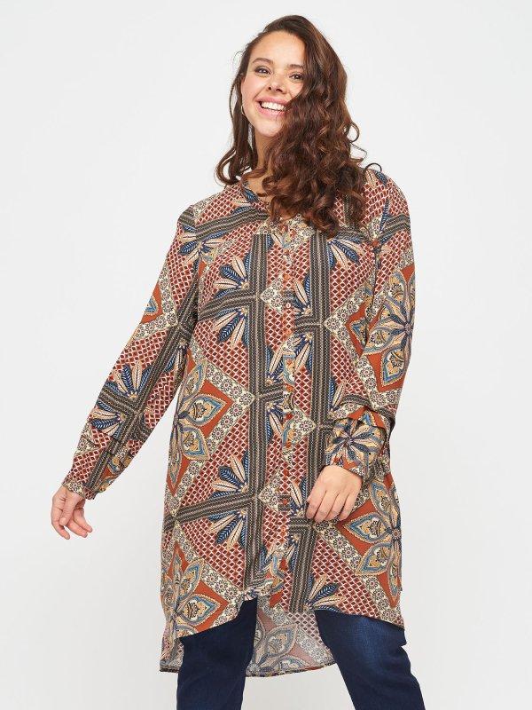 Skjorte kjole med flot orange orientalsk print fra Adia