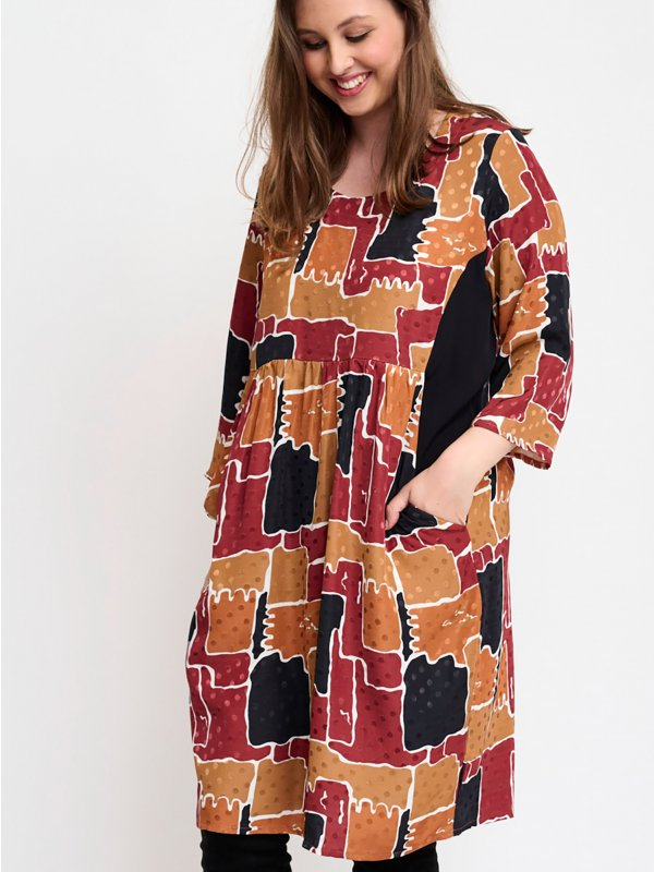 Yella viskose kjole i varme farver fra Pont Neuf