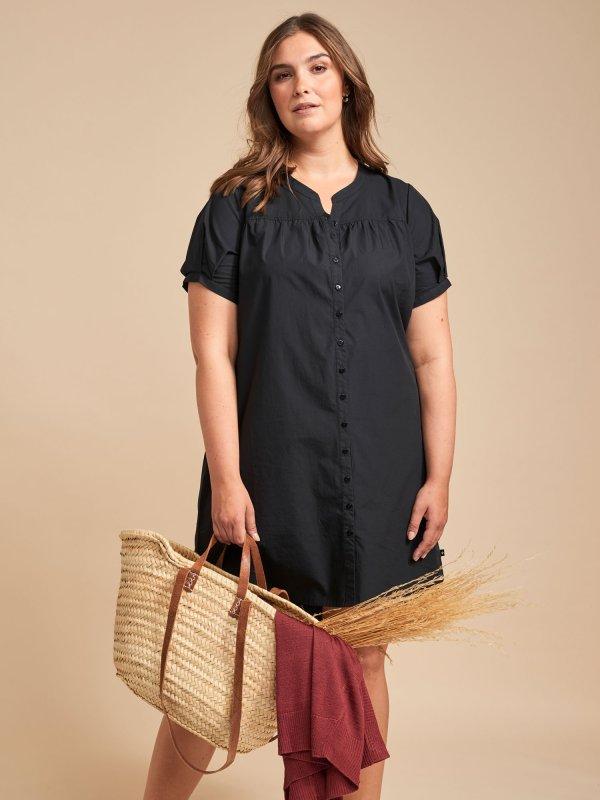 Sort skjorte kjole i bomuld fra Adia