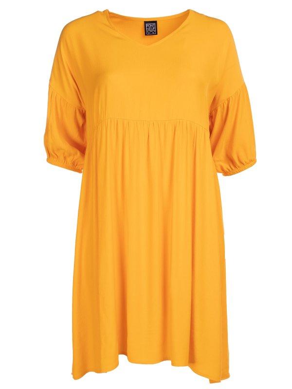 Gul Viskose kjole med V-hals og løs pasform fra Pont Neuf