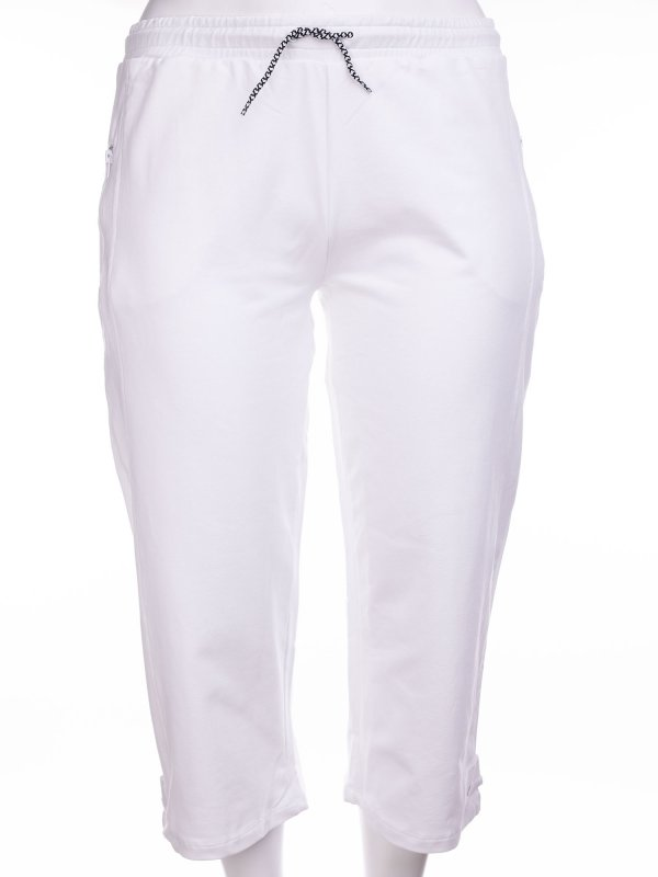Hvide capri træningsbukser i bomuldsjersey fra Aprico
