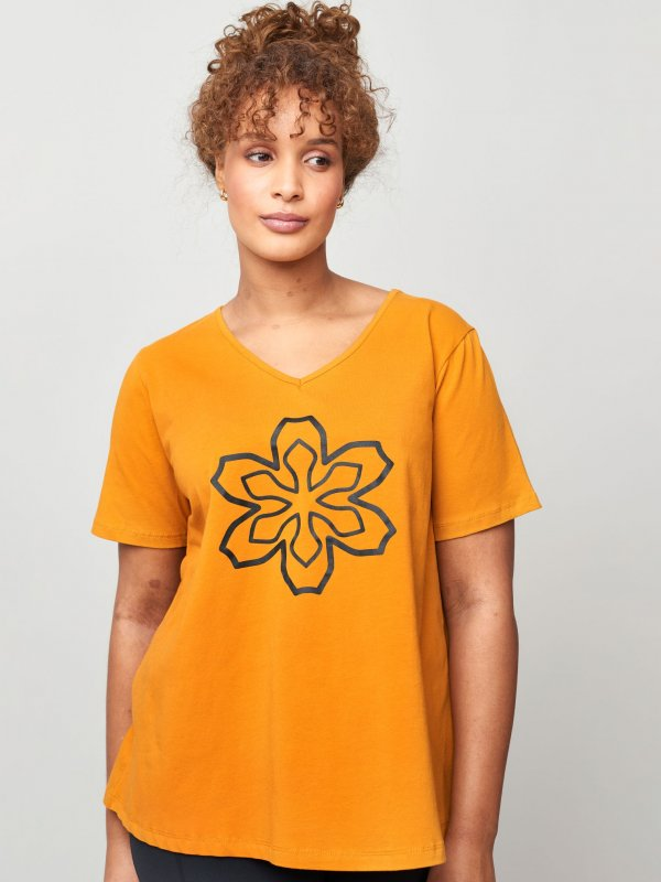 Gul trænings t-shirt med print fra Aprico Sport