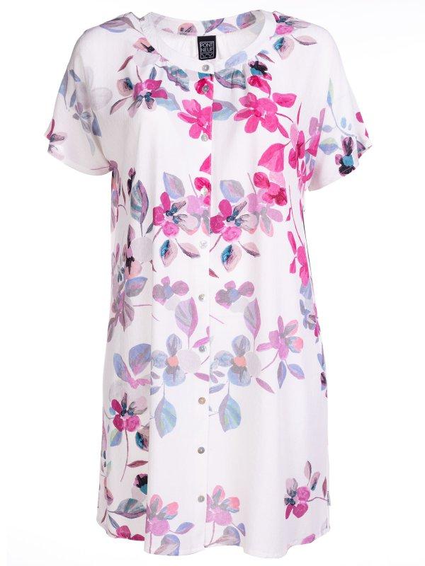 Hvid viskose kjole med smukke blomter fra Pont Neuf