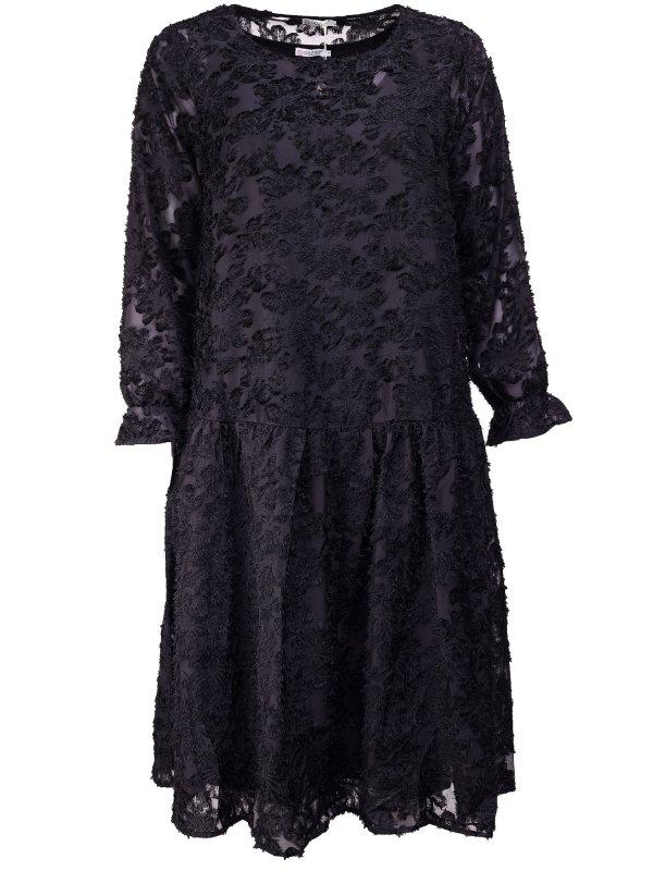 Sort kjole i kraftig blonde med blomster fra Gozzip