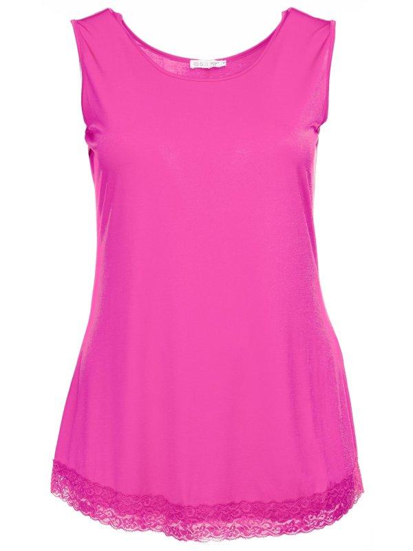 Pink top i kort model med flot blondekant forneden fra Gozzip