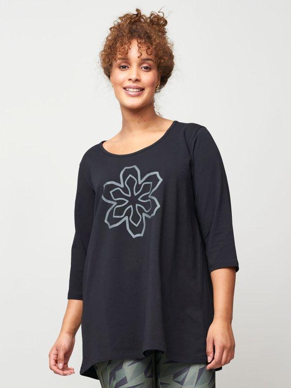 Lang sort trænings bluse i bomuldsjersey fra Aprico Sport