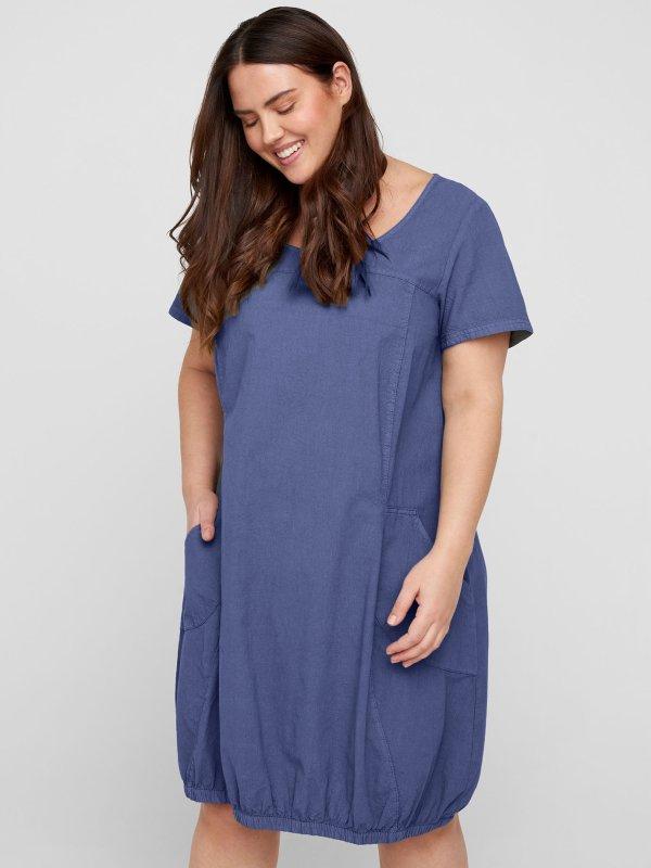 Blå bomuldskjole med elastikkant fra Zizzi
