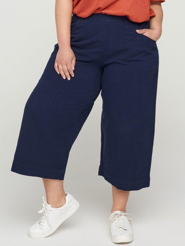 Mørkeblå culotte bukser i bomuld fra Zizzi