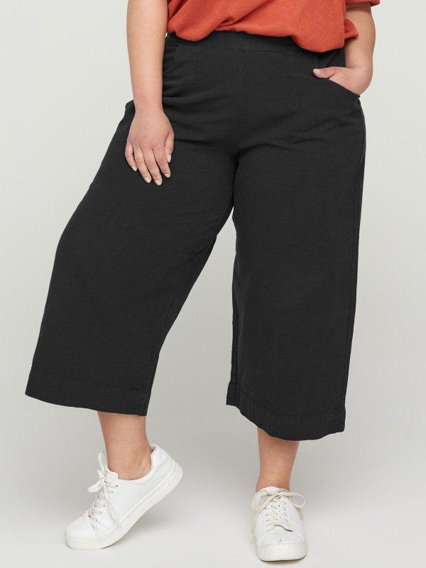 Sorte culotte bukser i bomuld fra Zizzi