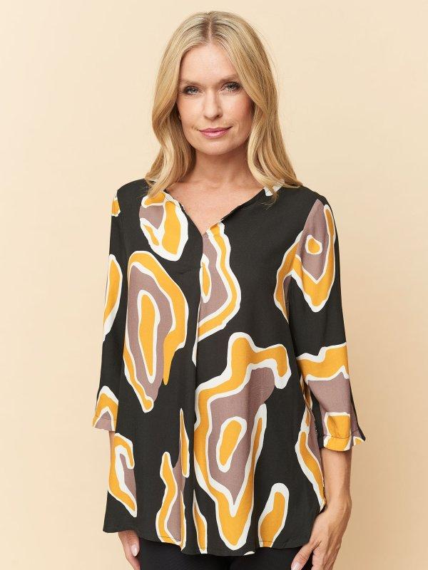 Sort Maude bluse med eksklusivt grafisk print fra Pont Neuf