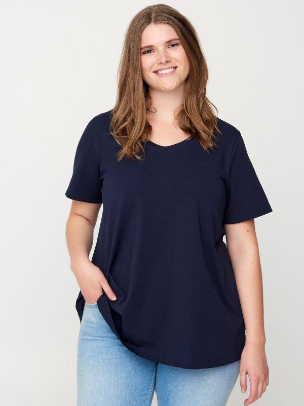 Mørkeblå basis t-shirt i bomuldsjersey fra Zizzi