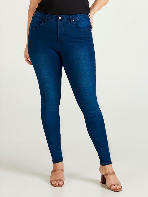 Mørkeblå AMY bukser i mørkeblå denim med 82 cm benlængde fra Zizzi