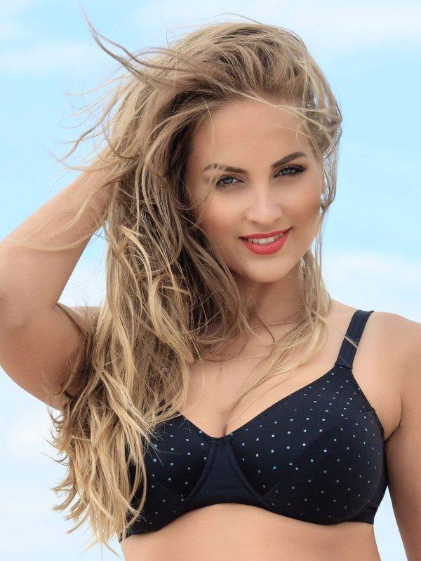Sort bikini top med helskål og glimmer effekt fra Plaisir