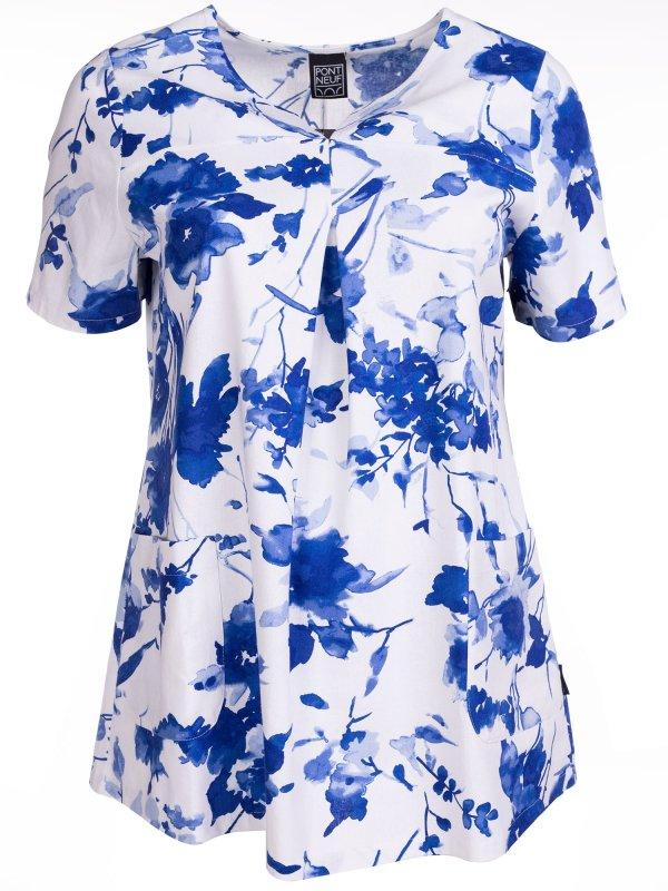 hvid viskose bluse med klassisk blå print fra Pont Neuf