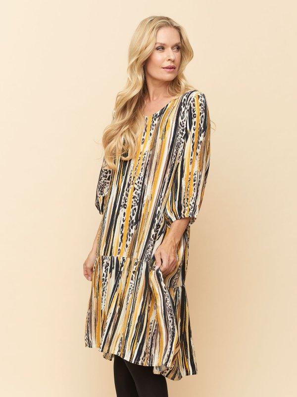 Lang Sabrina kjole i gul og sort stribet viskose fra Pont Neuf