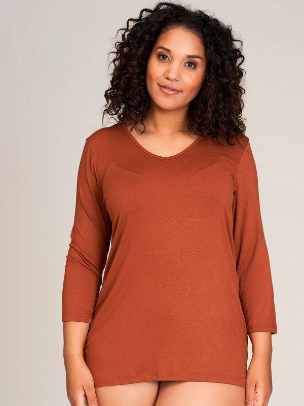 Basis bluse i brændt orange med 3/4-ærmer fra Sandgaard (fra Studio)