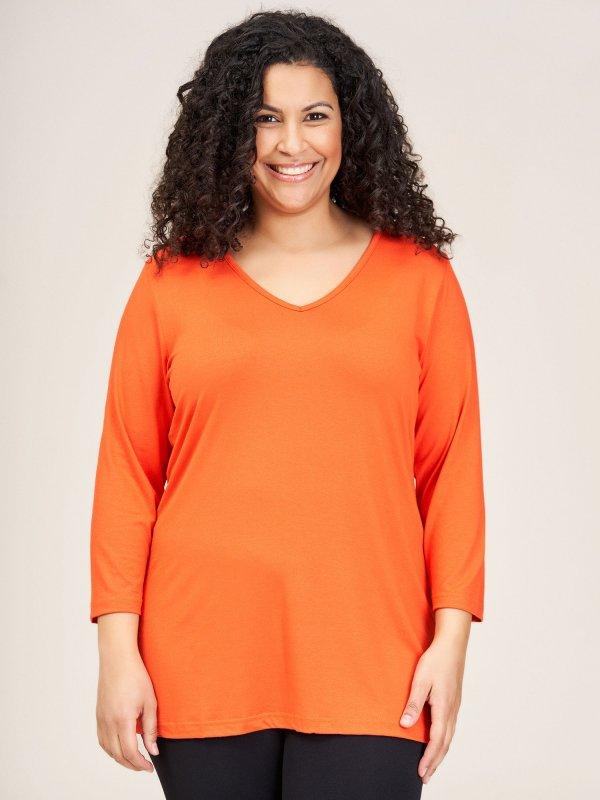 Orange basis bluse med 3/4-ærmer fra Sandgaard (fra Studio)