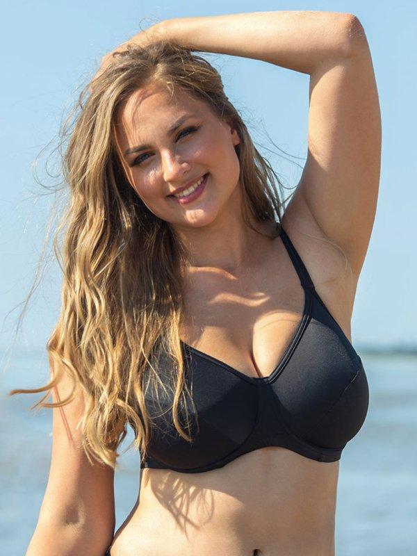 Klassisk sort bikini top med helskål fra Plaisir