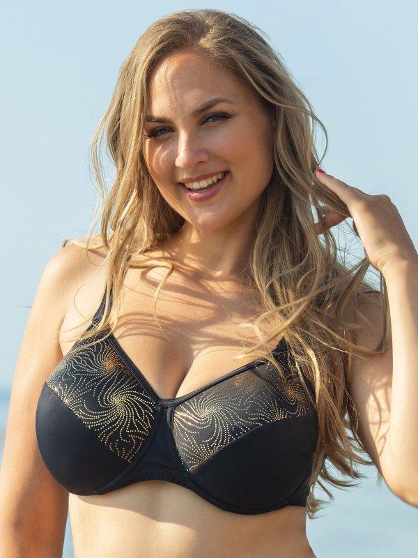 Sort bikini top med guldprint  fra Plaisir