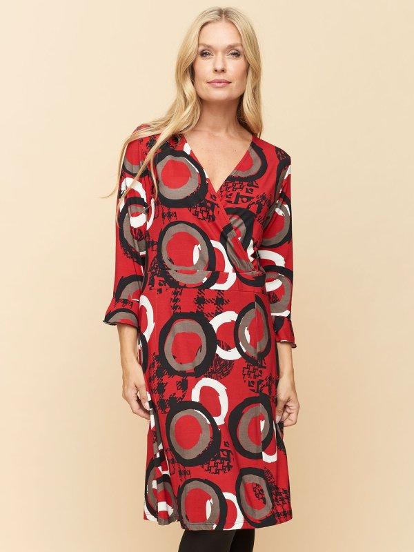 Jana slå-om kjole i rød fra Pont Neuf