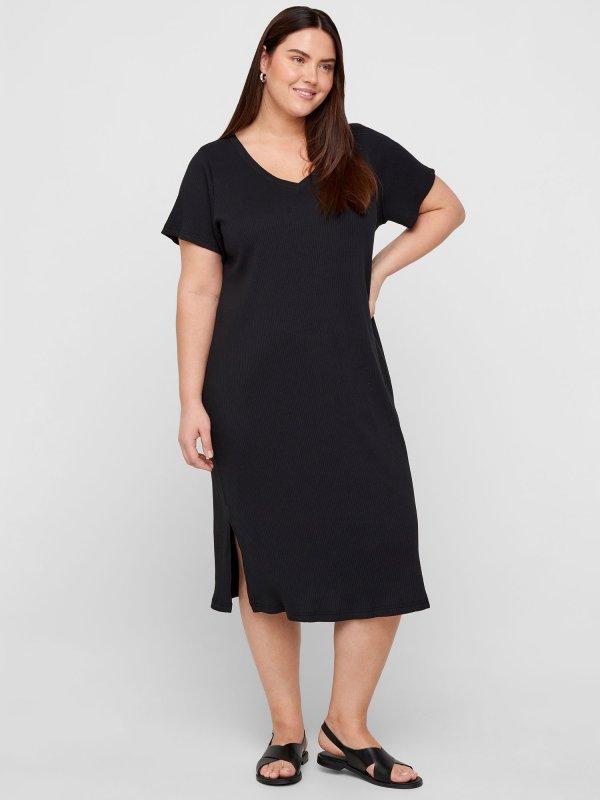 Sort kjole med rillet struktur og v-hals  fra Zizzi