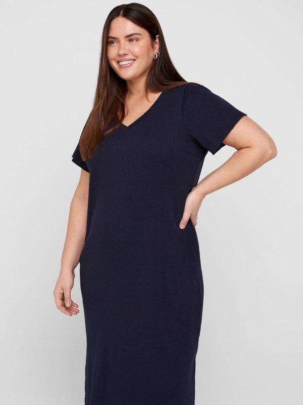 Mørkeblå kjole med rillet struktur og v-hals  fra Zizzi