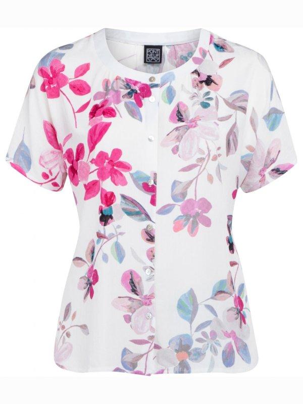 Hvid Clarisse bluse med blomsterprint fra Pont Neuf