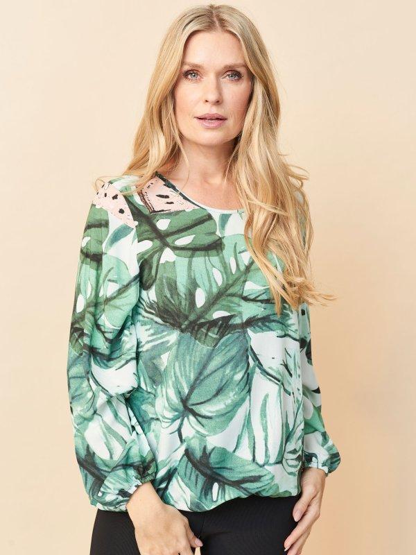 Bluse med blad og vandmelon print fra Pont Neuf