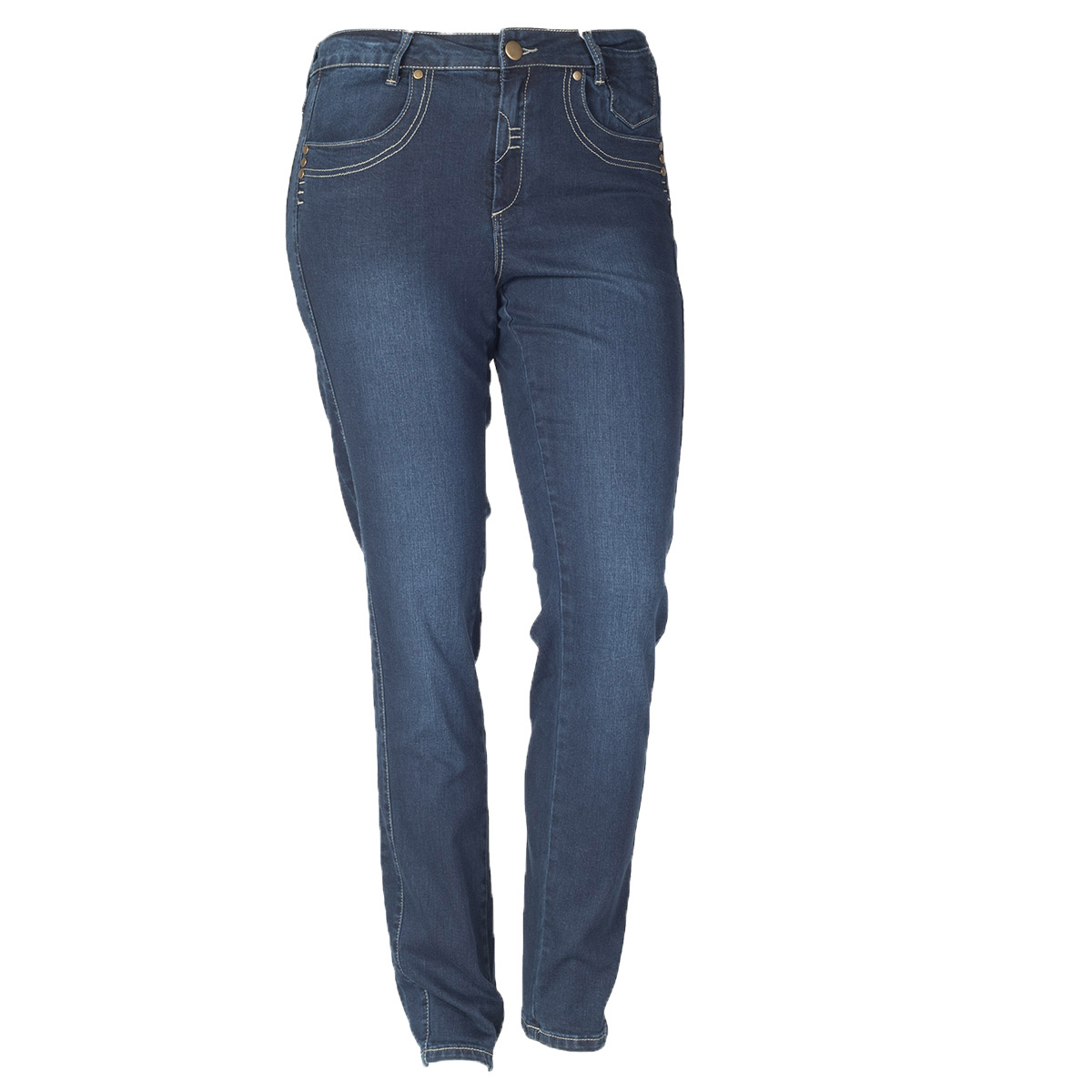 Blå jeans med flotte syninger fra deluca