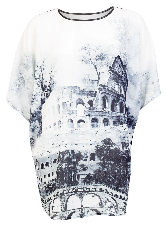 Lang bluse med print af colosseum