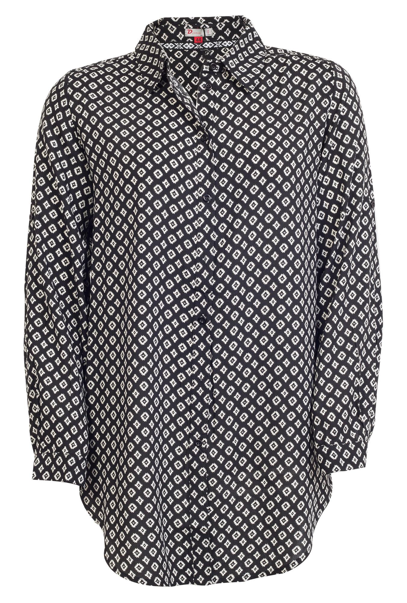 Lang sort skjorte med lyst print