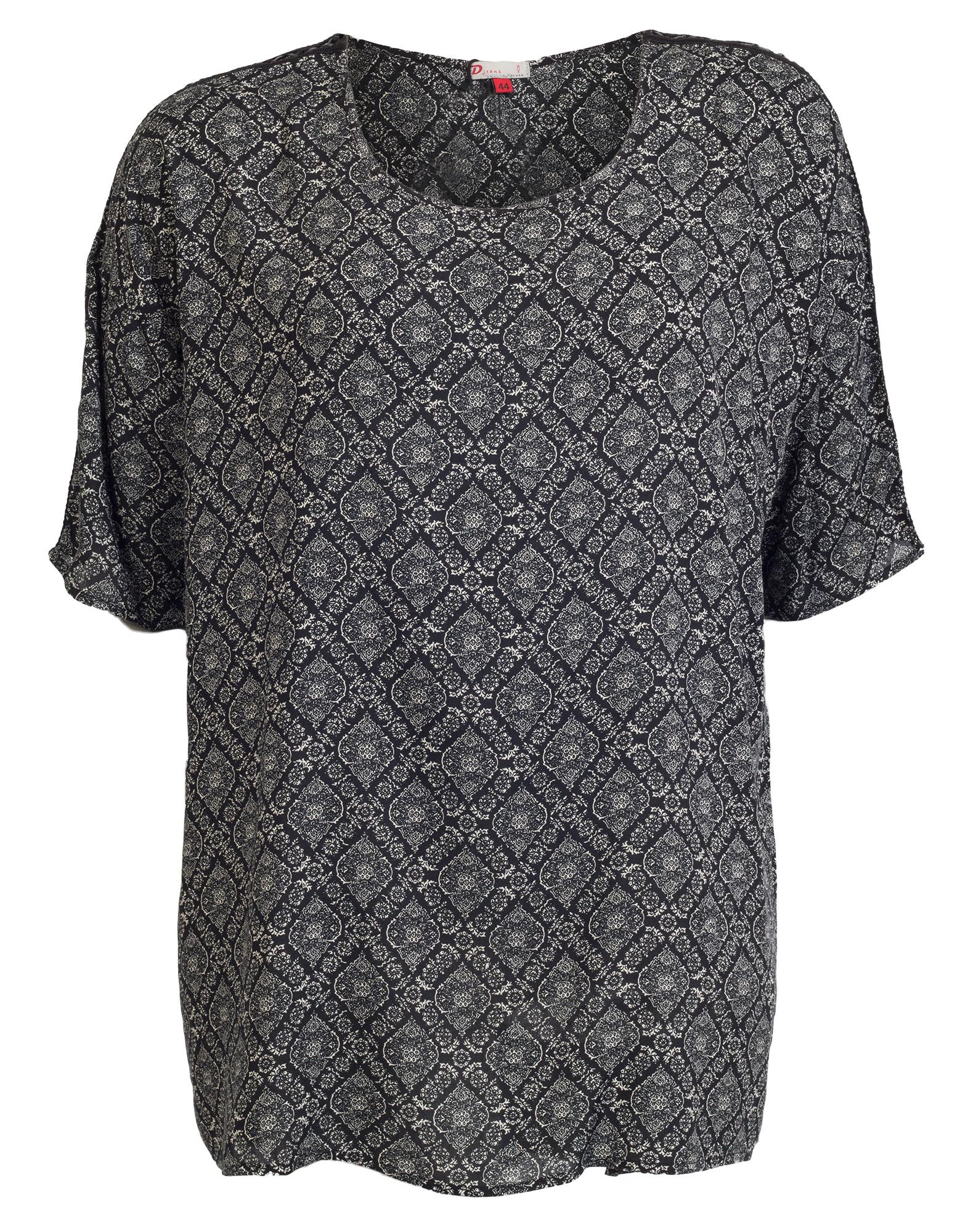 Sort skjortebluse med klassisk mønster