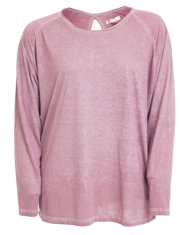 Langærmet rosameleret t-shirt