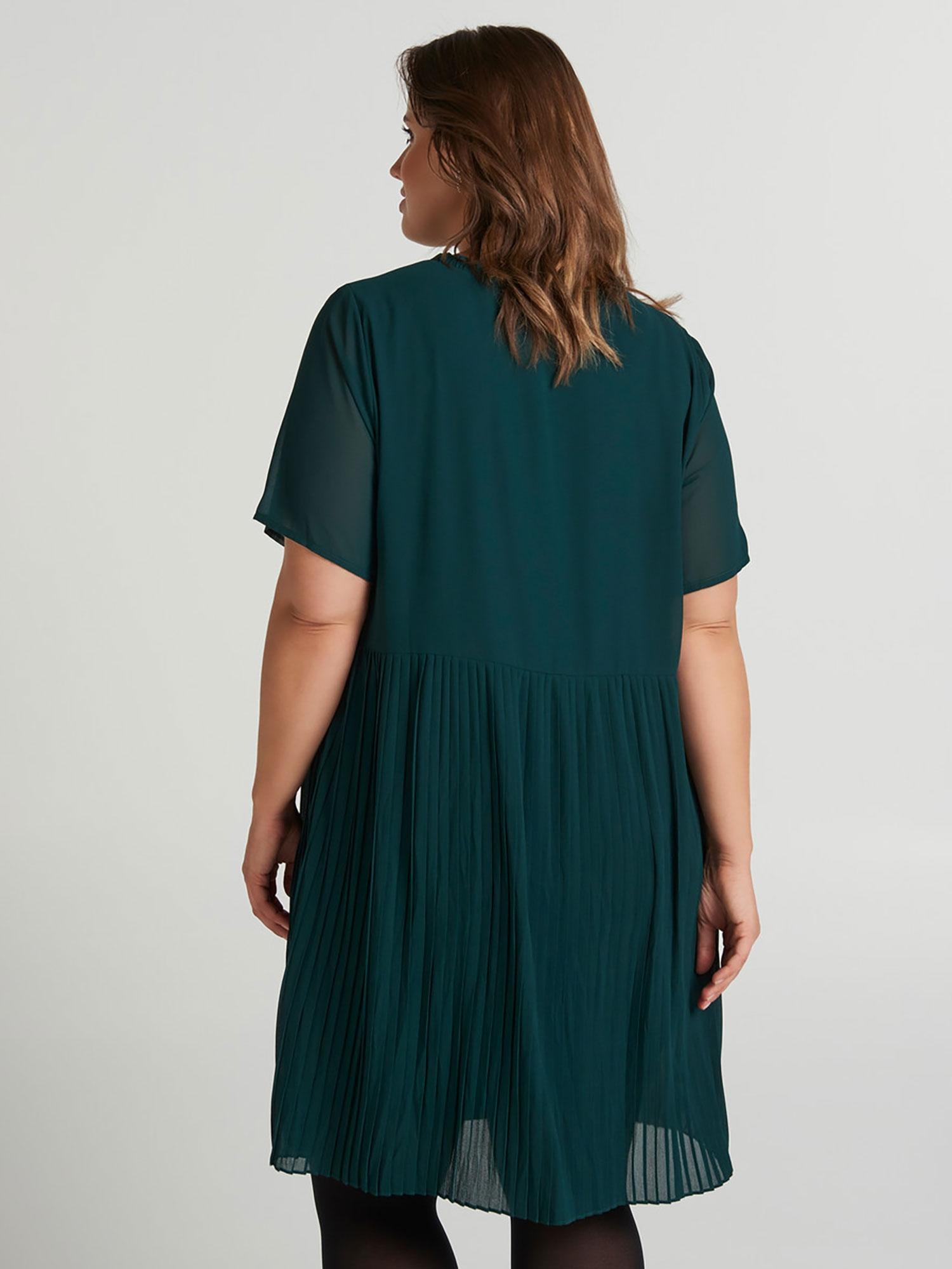 Junarose Blå kjole med plisséunderdel
