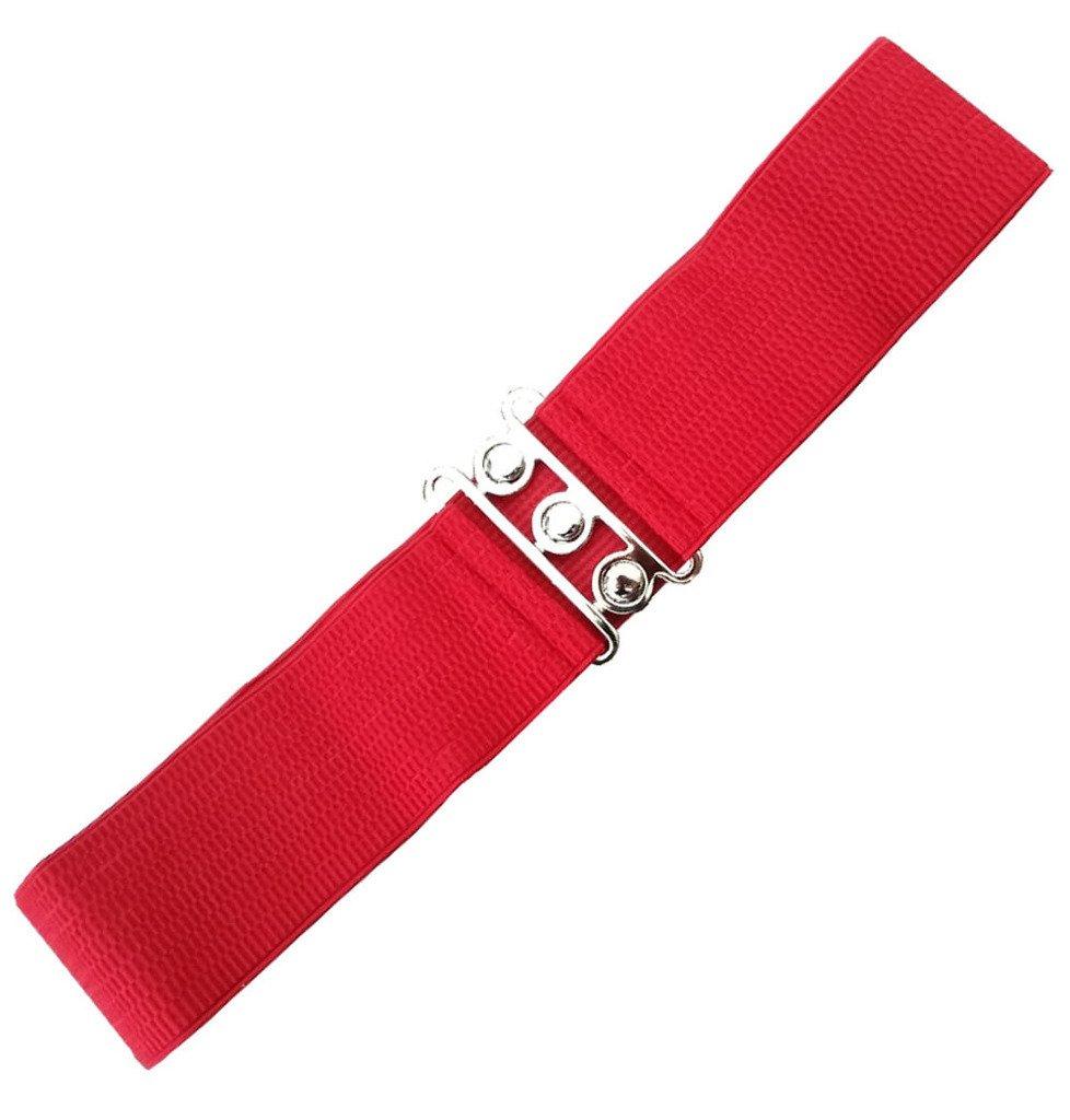Elastisk rødt bælte med metallukning