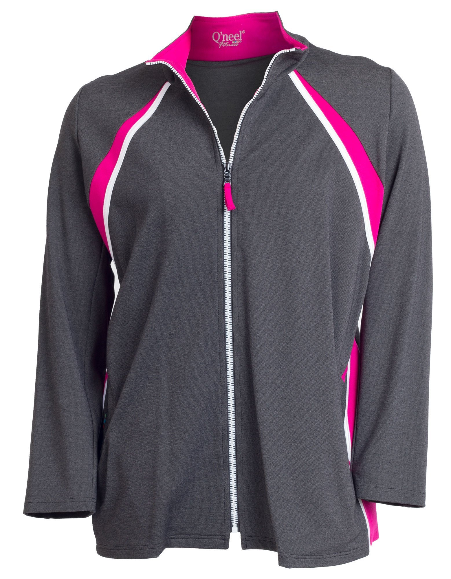 Fitness jakke i grå, pink og hvid