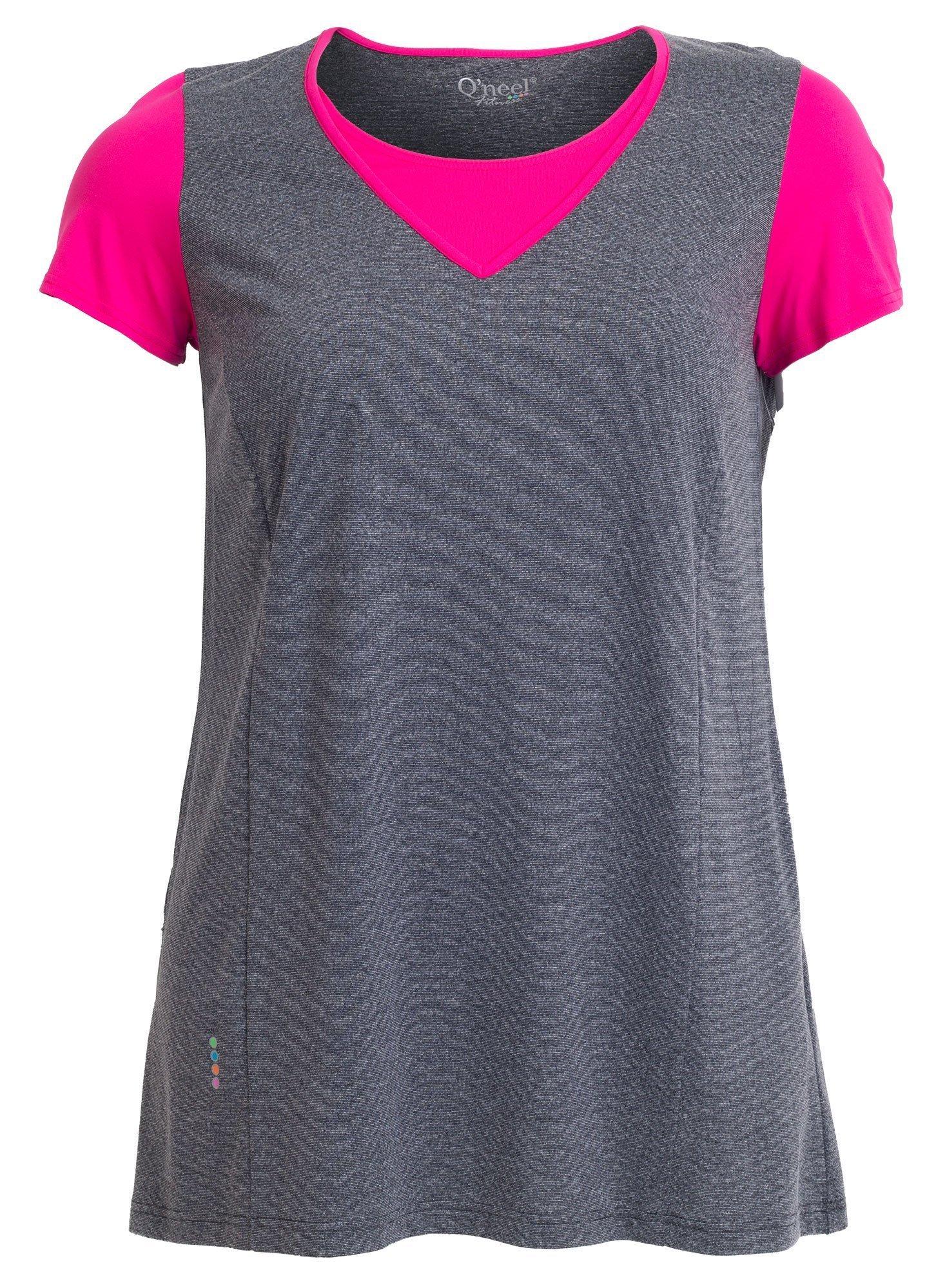 Fitness t-shirt i grå og pink