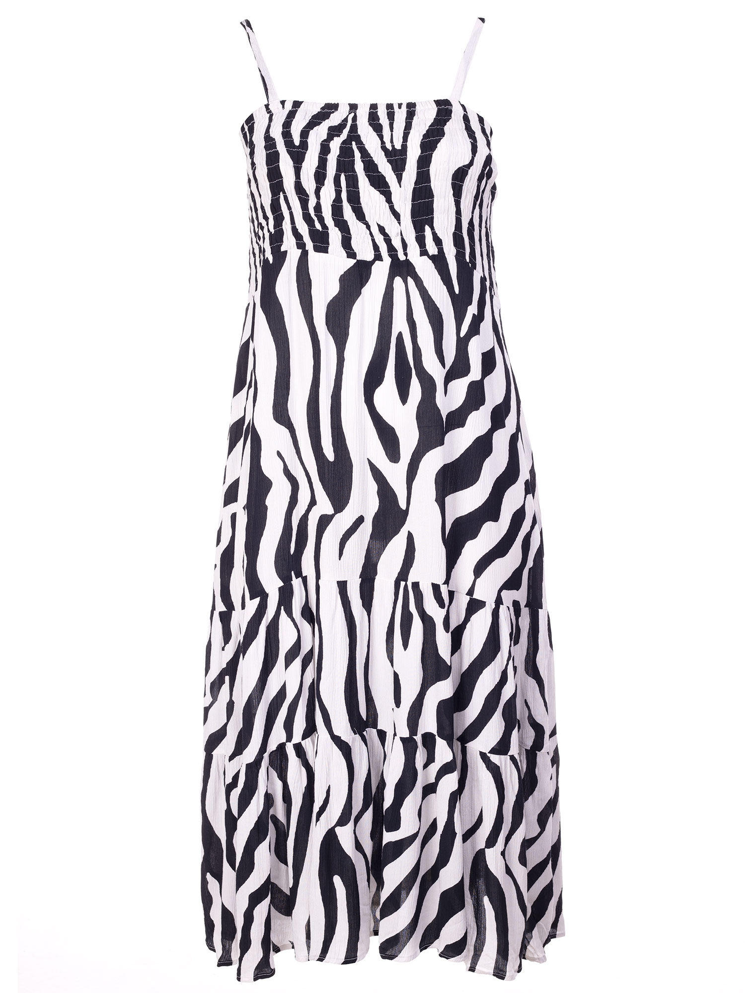 Lang hvid kjole med dyreprint