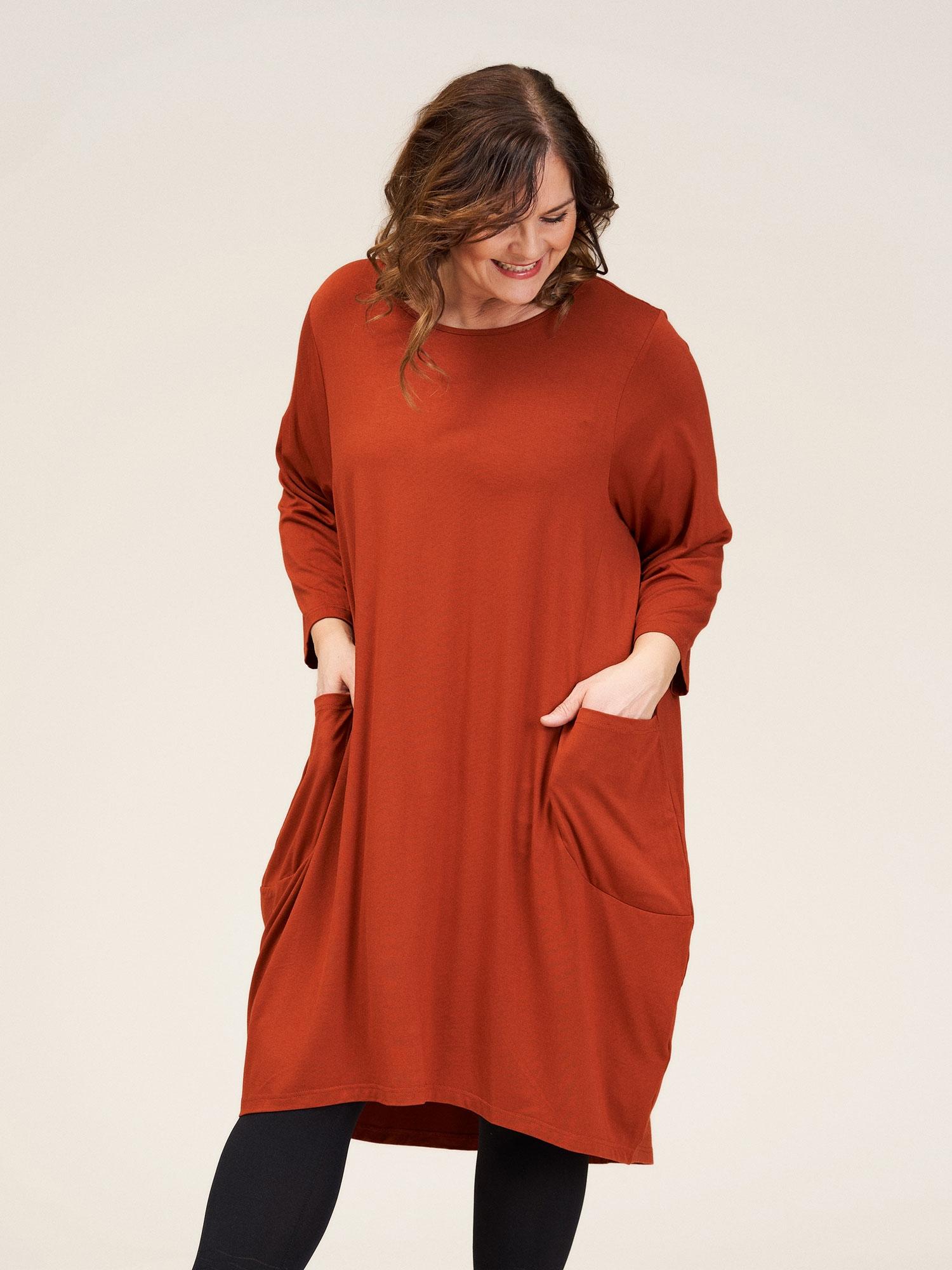 Gozzip Orange jersey kjole med lommer og lange ærmer, 46-48 / M