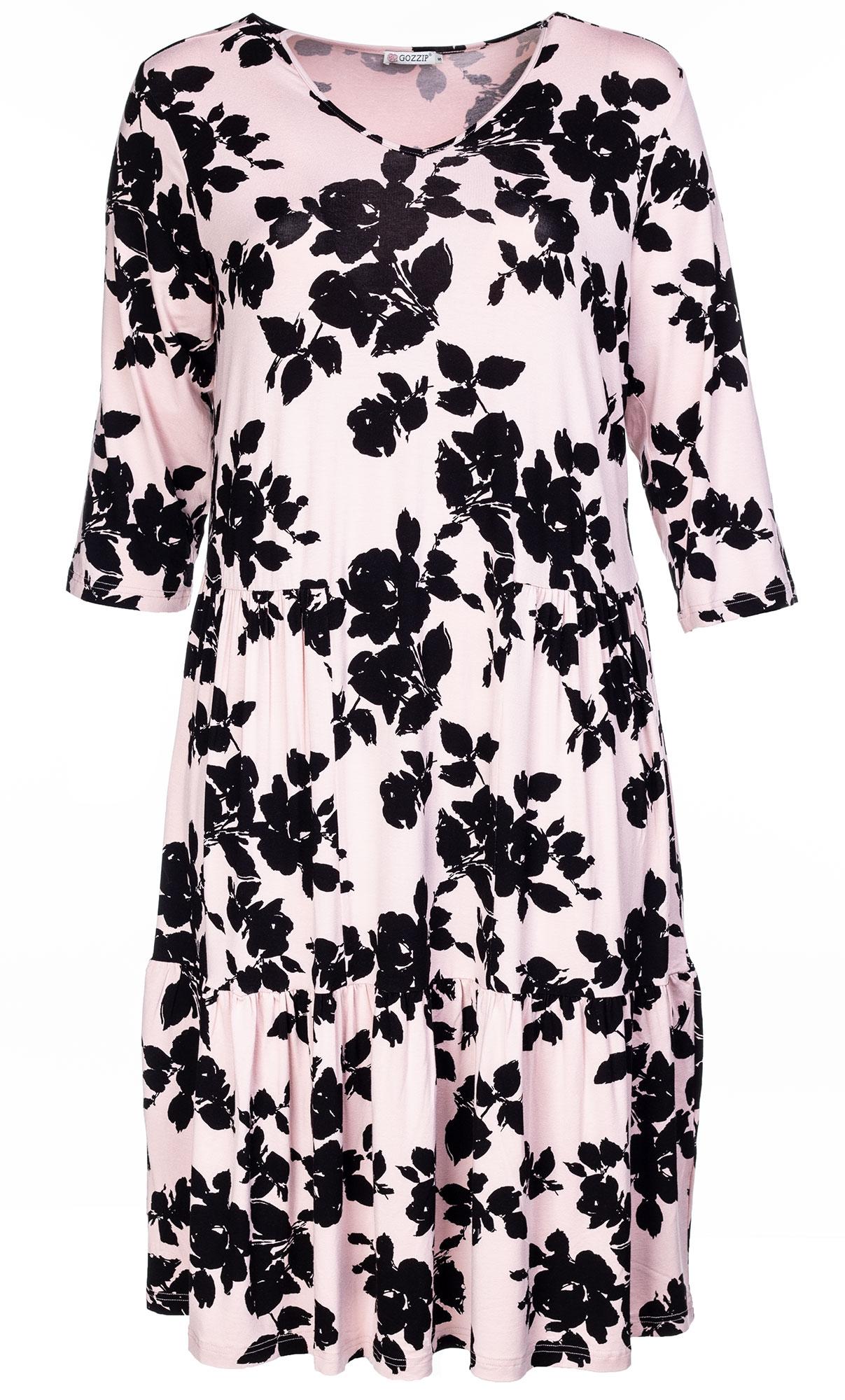 Rosafarvet lang viskose jersey kjole med V-hals