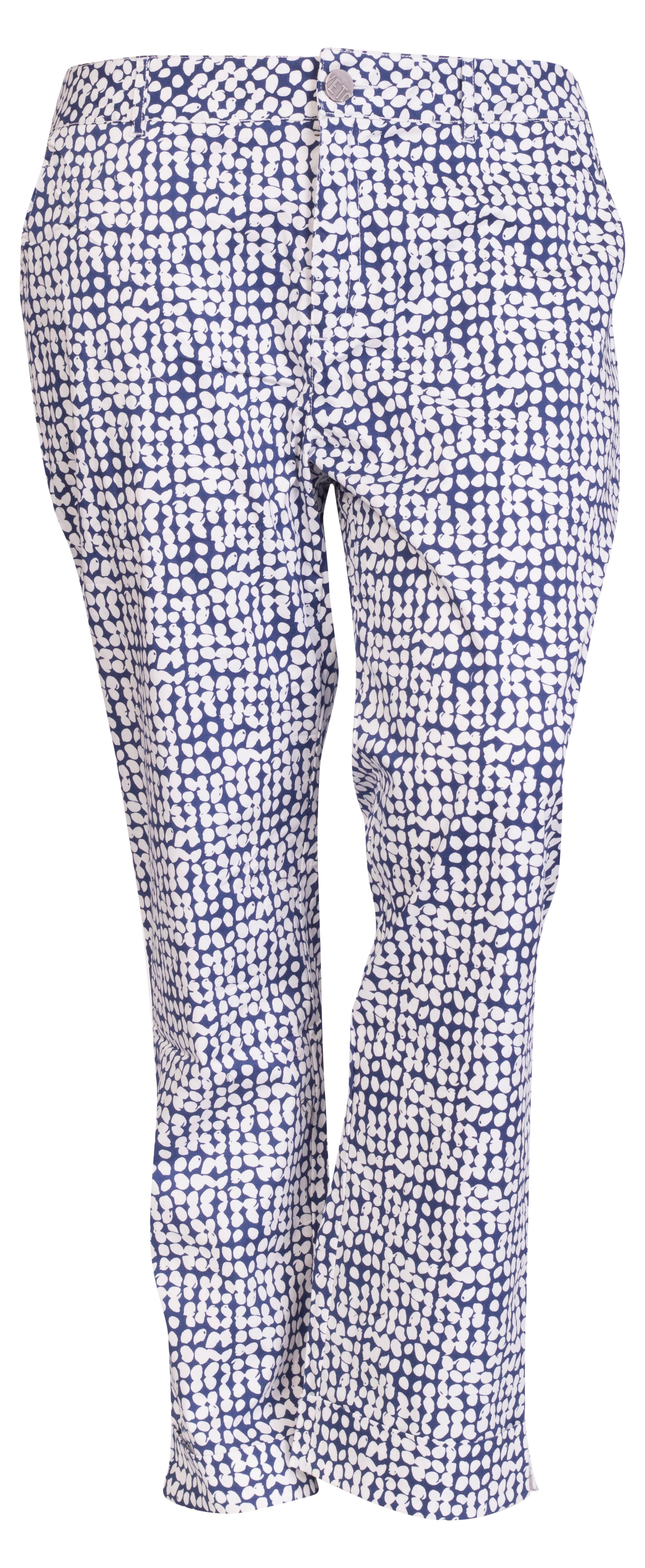 Stumpebukser med med stretch i blå hvid print
