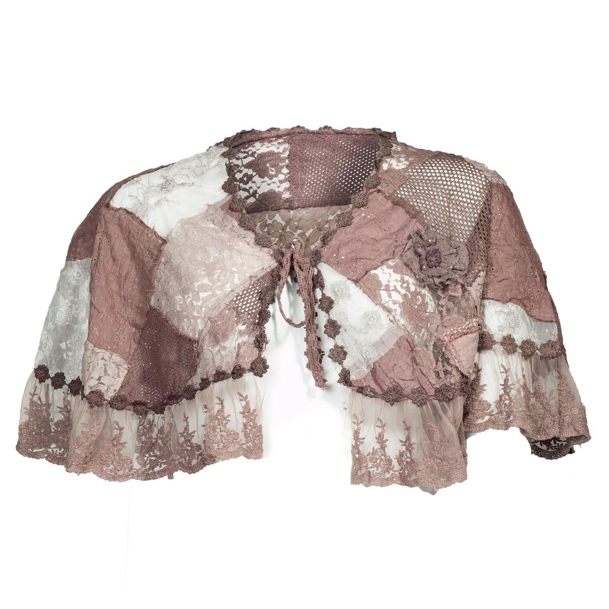 Mørk rosa sjal med blondekant