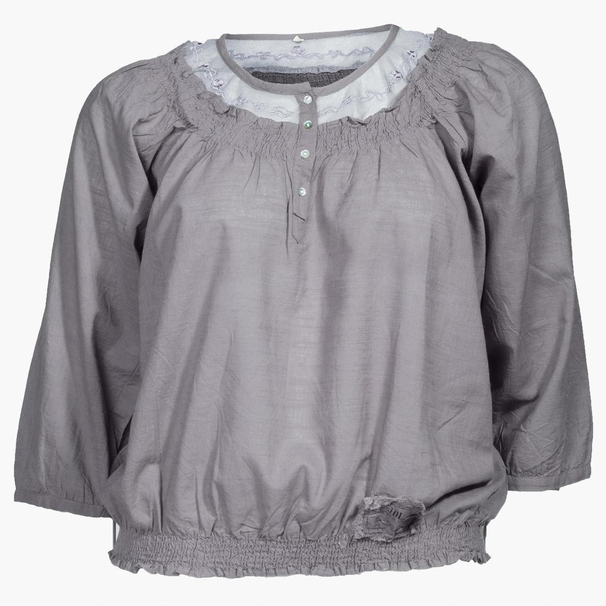 Mørkegrå bluse med 3/4 ærmer